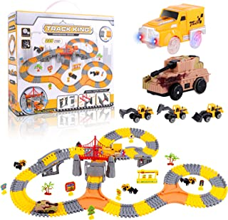 225 Pieces Create Your Own Engineering Construction Race Track Set with 1 Electric Car and 1 Electric Tank. Create Your Ow...