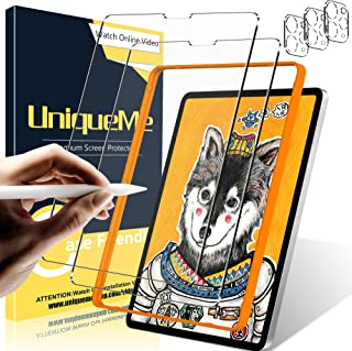 [2+3 Pack] UniqueMe Paperfeel Glass Compatible for iPad Pro 11 inch 2020,2021 Screen Protector and Camera Lens Protector, ...