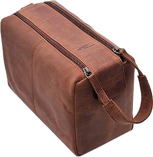 Menzo Leder Kulturbeutel, Kulturtasche, Toilettentasche für die Reise, Herren und Damen deltabraun