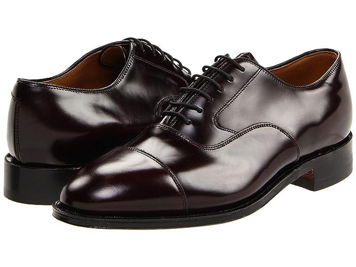 Johnston and Murphy  Melton Classic Dress Cap Toe Oxford (Bourdeaux Brushed Veal) Mens Lace Up Cap Toe Shoes