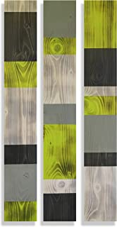 Modern Farmhouse Wood Wall Hanging, Chartreuse and Gray, Rustic Lime Green and Grey Wall Art