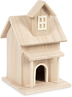 Darice Birdhouse with Front Porch and a Dormer Window Wood Bird House, Multicolor
