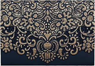 50 WISHMADE Gold Pattern Navy Blue Laser Cut Invitations for Wedding Anniversary Holiday Housewarming Birthday Quinceanera, Printable Invites with Envelopes AW8501