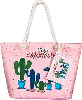 Bolsa de Playa de Lona Grande niña Mujer Bolsas de viaje Bolsos bandolera Bolsos de mano Bolsos mochila Bolsos totes Shopper Bolsa con Cremallera - Cactus