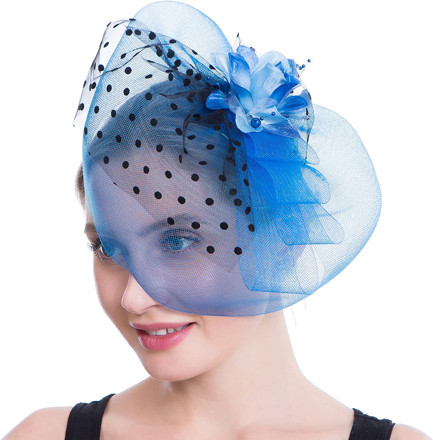 Ogteud Fascinators for Women with Hair Clip Headband, Tea Party Hats for Kentucky Derby Church Cocktail Wedding Party