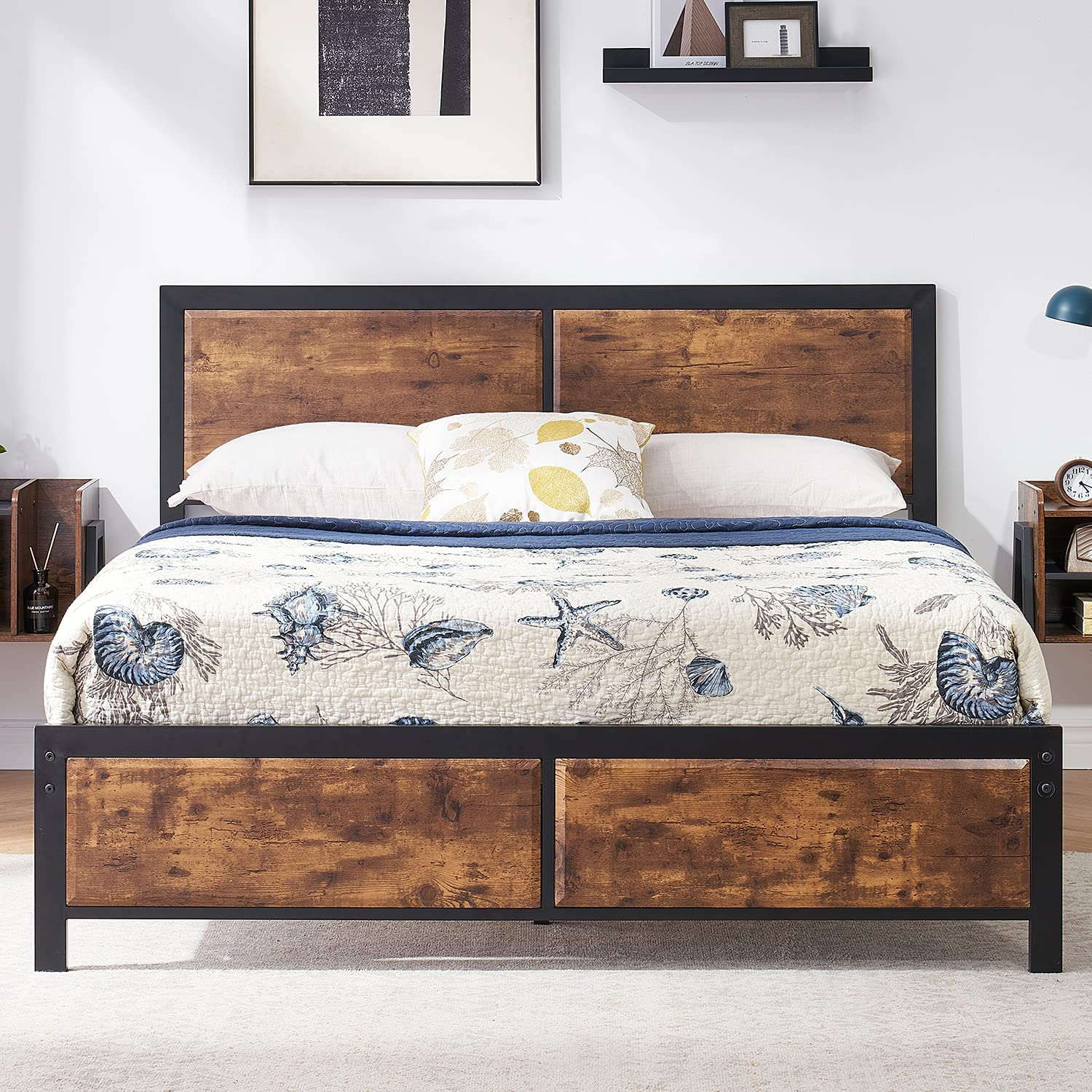 VECELO Full Platform Bed Frame with Rustic Vintage Wood Headboard, Mattress Foundation, Strong Metal Slats Support, No Box Spring Needed