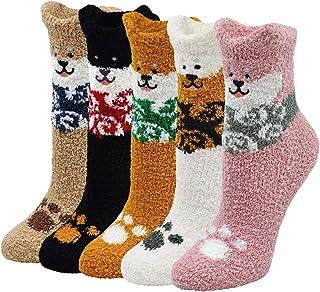 LOFIR, Calcetines Divertidos para Mujer Invierno Calcetines Térmico con Dibujos de Animal, Vistoso Calcetines Gruesos y Cálidos de Algodón para Mujer, talla 35-41, 5 pares