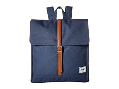Herschel Supply Co. City Mid-Volume (Navy/Tan Synthetic Leather) Backpack Bags