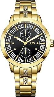 ساعة فاخرة متألقة للنساء مع 6 قطع الماس و140 قطعة من كريستال سواوفسكي من جي بي دبليو - J6341D