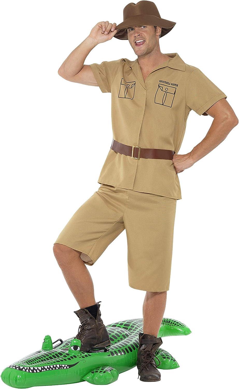 Smiffys-41044M Traje de Hombre Safari, con Camisa, Shorts, Cinturón y Sombrero, Color marrón, M-Tamaño 38