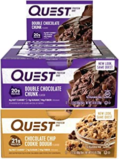Quest Nutrition Protein Bar Double Down Mix-Up (Double Chocolate Chip and Chocolate Chip Cookie Dough). Low Carb Meal Replacement Bar with 20 gram Protein. High Fiber, Gluten-Free (24 Count)