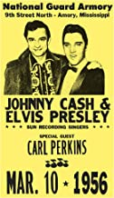"Elvis Presley & Johnny Cash National Guard Armory 13""x22"" Vintage Style Showprint Poster - Concert Bill - Home Nostalgia Decor Wall Art Print"