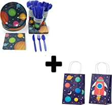 Outer Space Party Bundle with Disposable Tableware and Goodie Bags (168 Pieces)