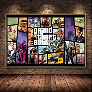 Grand Theft Auto V Video Game Gta 5 Print Poster Wall Art Canvas Schilderij Voor Woonkamer Massief Hout Opknoping Scroll H...