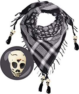 Lovarzi Stylish Cotton Skull Scarf with Skull Bone Beads - Only of its kind - For Men and Women