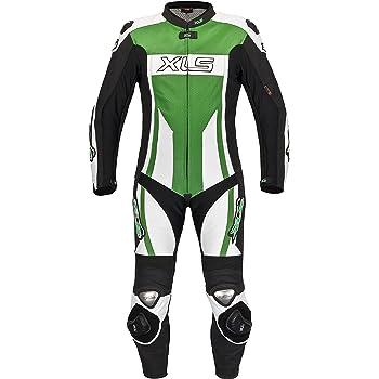 XLS in pelle di alta qualit/à Tuta intera da motociclista colore: bianco//nero