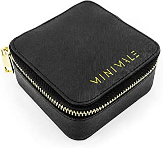 MINIMALE COLLECTIVE Travel Jewelry Organizer | Small Jewelry Box | Genuine Leather Travel Jewelry Case for Necklaces, Earr...