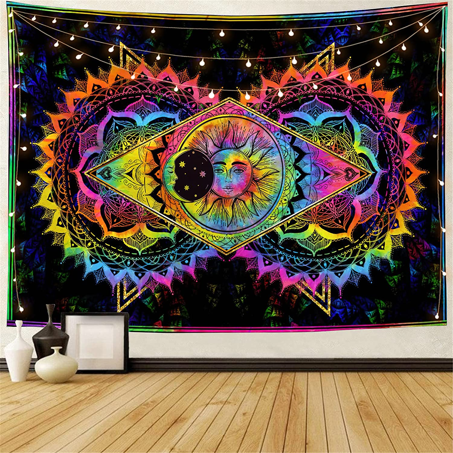 Miytal Sun and Moon Tapestry, Colorful Mandala Hippie Mystic Tapestries, Tie Dye Bohemian Wall Décor for Bedroom- 51.2