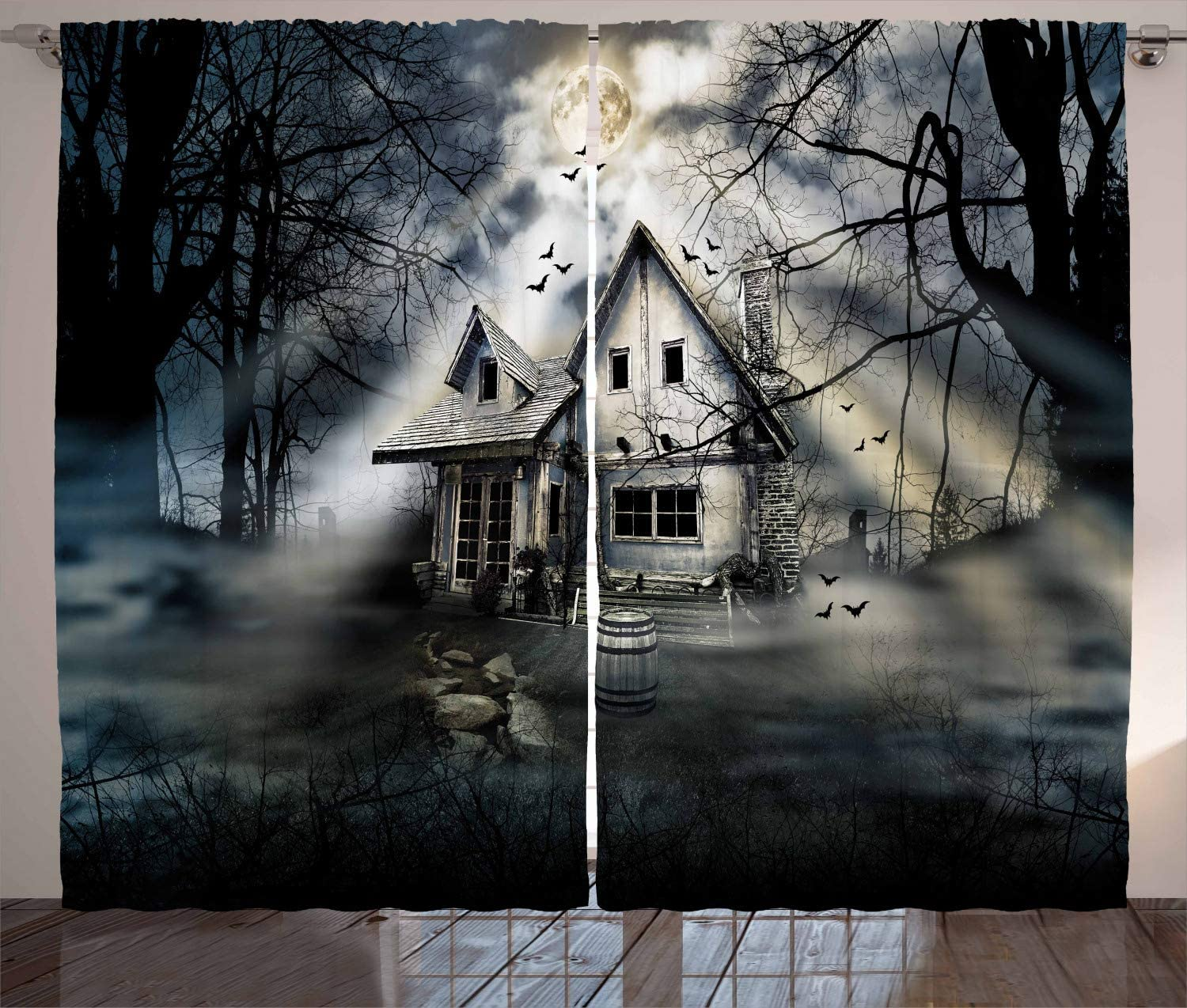 Ambesonne Halloween Curtains Haunted All stores are sold House with Horror Atm Quantity limited Dark