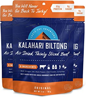 Original Kalahari Biltong, Air-Dried Thinly Sliced Beef, 2oz (Pack of 3), Sugar Free, Gluten Free, Keto & Paleo, High Protein Snack