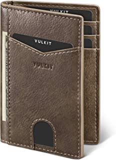 VULKIT Credit Card Holder RFID Blocking Slim Leather Wallet Anti Scan Bank Card Holder Quick Access with 10 Slots, Mocha