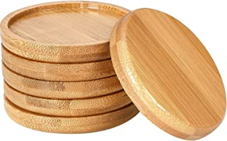 Frienda 6 Pack Trays 2.5 Inch Bamboo Round Plant Saucer for Most 2.5 Inch Plant Pot Flower Pot Solution for 2.5 Inch Owl P...
