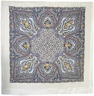 Lilac Fairy 100% Wool Russian Shawl with Silk Fringe 57.5х57.5'' (146x146 cm) White