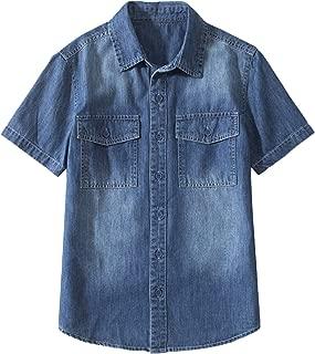 Tronjori Boy's Short Sleeve Button Down Woven Shirt