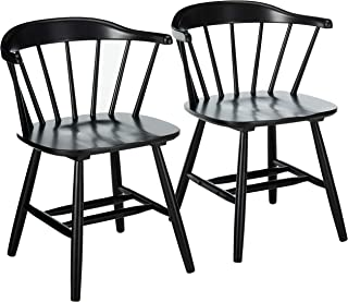Christopher Knight Home Mia Farmhouse Spindle Back Rubberwood Dining Chairs (Set of 2), Black
