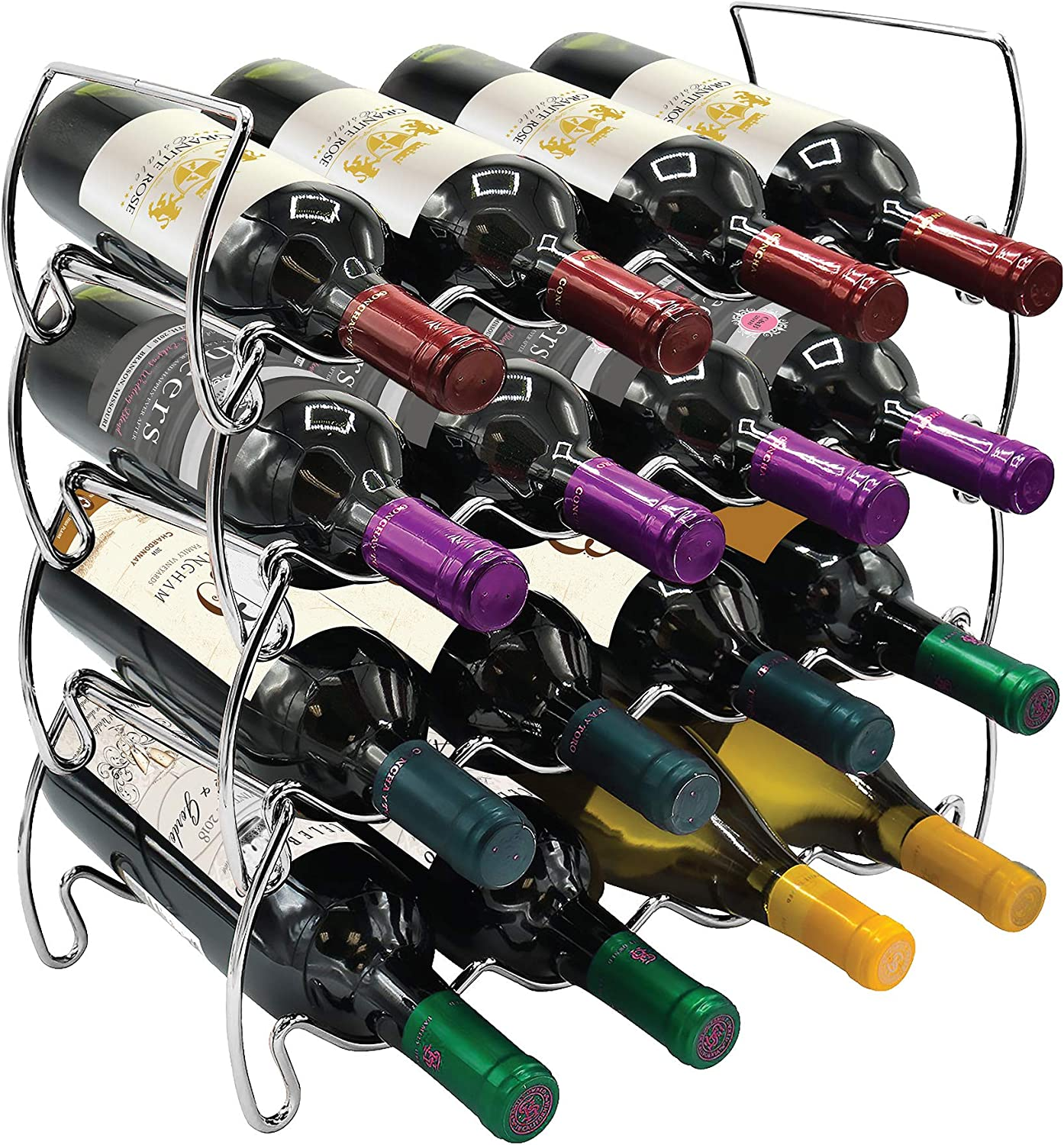 Freestanding 4 Tier Stackable Wine Bottles for Rack Dining Limited price sale Room It is very popular