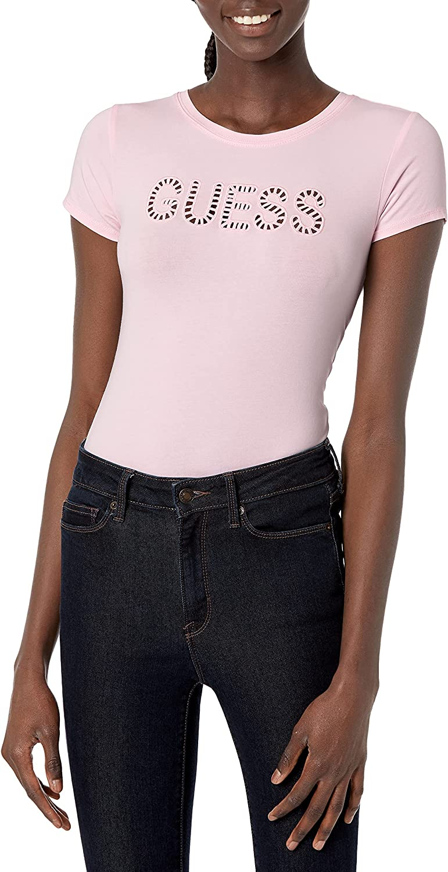 GUESS Women's Short Sleeve Eyelet Logo Tee
