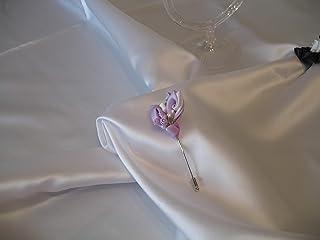 Bottoniera spilla da giacca Kanzashi con fiore lilla e bianco