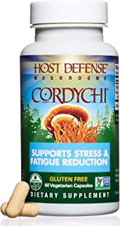 Host Defense - CordyChi Multi Mushroom Capsules, Supports Energy, Cardiovascular Health, and Immunity in the Lungs to Help Reduce Stress and Fatigue, Non-GMO, Vegan, Organic, 60 Count