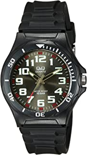 Q&Q Men's Black Dial Silicone Band Watch - VP96J002Y