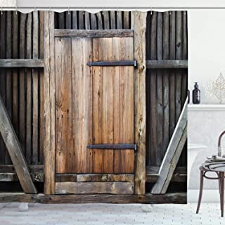 Ambesonne Antique Shower Curtain, Rustic Antique Wooden Door Exterior Facades Rural Barn Timber Weathered Display, Cloth Fabric Bathroom Decor Set with Hooks, 75