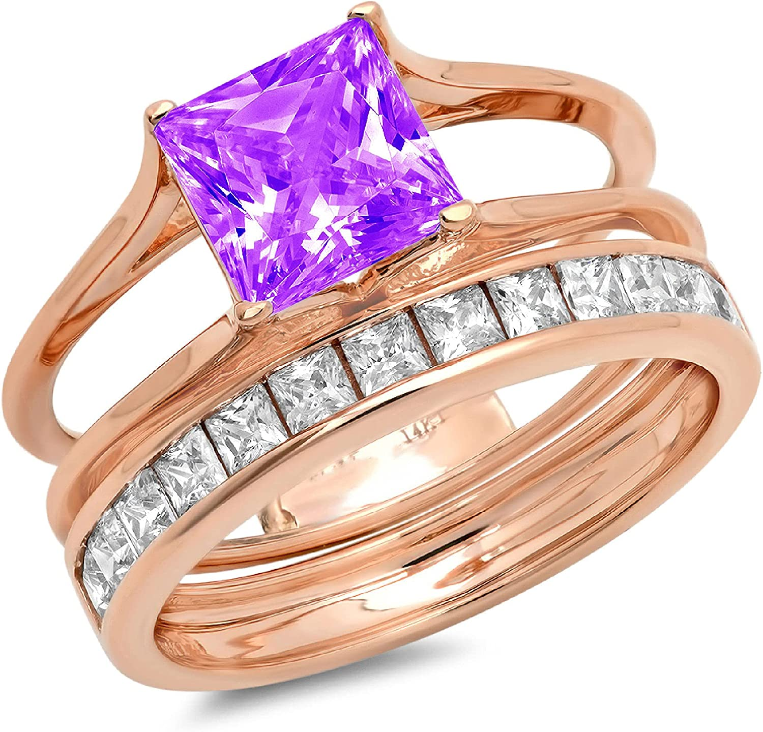 Clara Pucci 3.40ct Princess Cut Pave Solitaire Accent Genuine Flawless Natural Purple Amethyst Engagement Promise Statement Anniversary Bridal Wedding Ring Band set Sliding Solid 18K Rose Gold