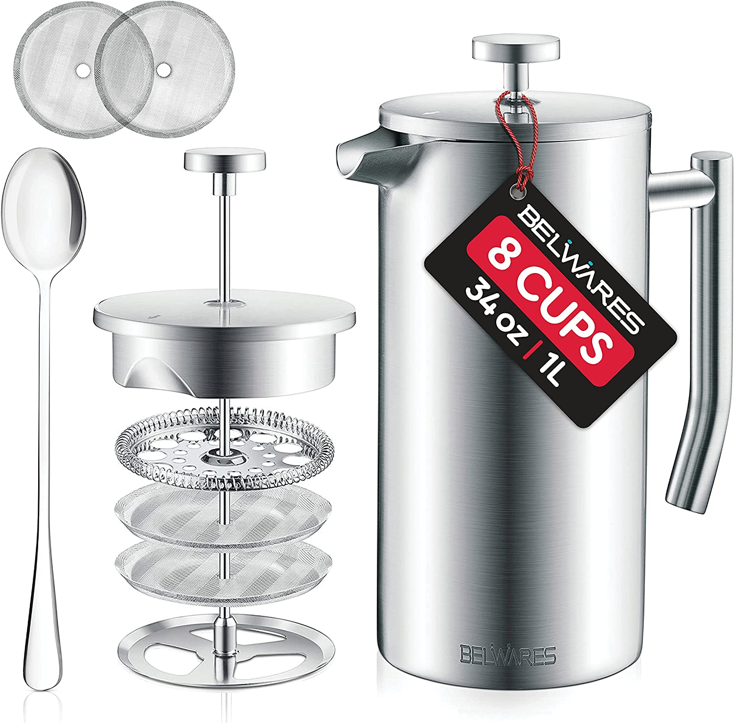 Belwares French Press Coffee Maker Max 65% OFF - Wall S Quality inspection Double Stainless 304