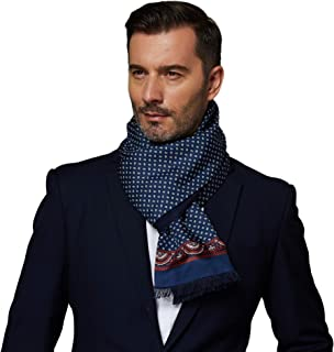CUDDLE DREAMS Men's Luxury Silk Scarves for Winter, Twill Facing with Brushed Lining, Double Layer, 100% Mulberry Silk