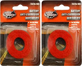 2-PACK (4 Washers) - Road Power 989 Anti-Corrosion Fiber Washers, (2 Red plus 2 Green)