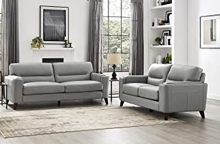 Hydeline Elm 100% Leather Set, Sofa and Loveseat, Silver Gray