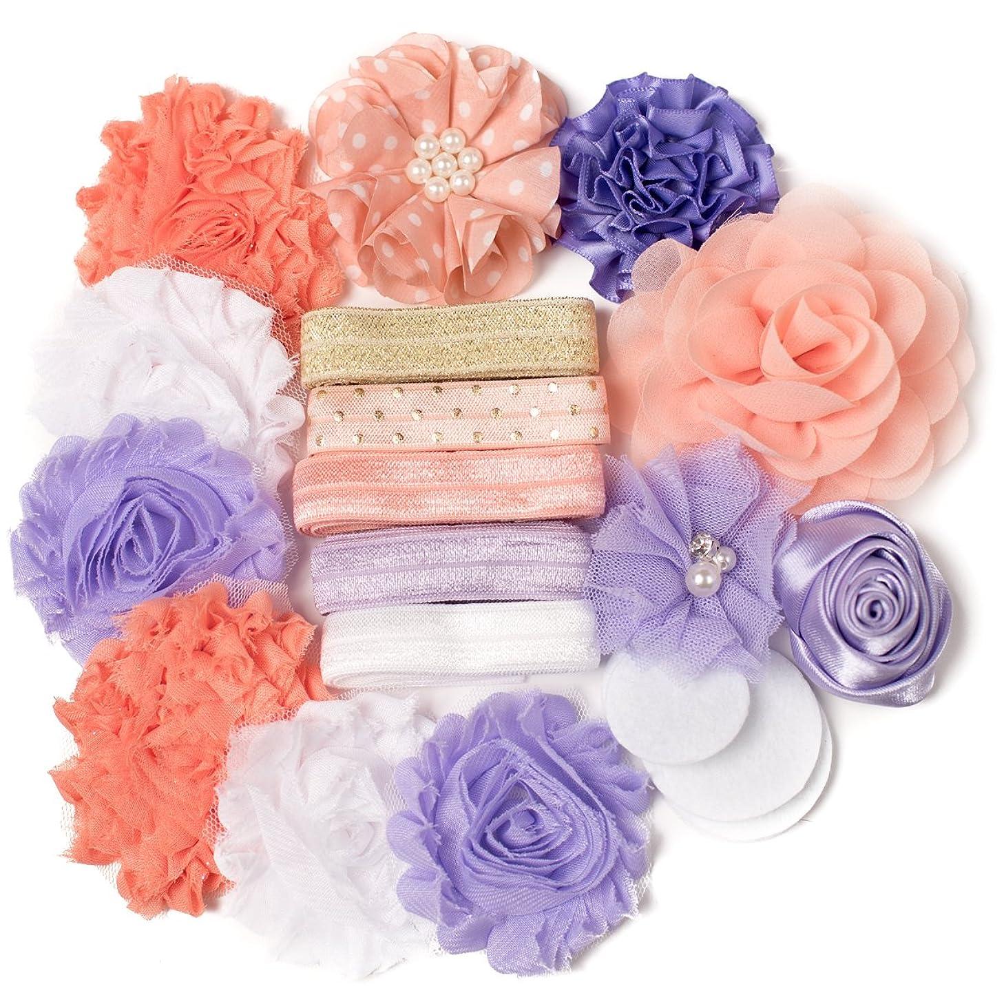 Whimsy : Peach & Lavender Purple DIY Deluxe Mini Headband Kit Makes 5-10 Headband Hair Accessories : Shabby Chiffon Craft Roses FOE Fold Over Elastic : Princess Parties & Baby Showers