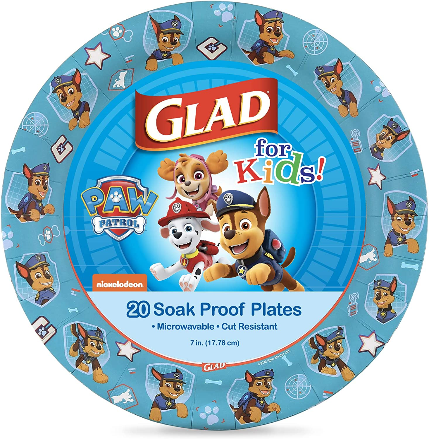 Glad for Kids Challenge the lowest price Paw Patrol Direct stock discount Paper Count Featuring 20 Plates Chase