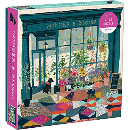"""Galison Wonder & Bloom Puzzle, 500 Pieces, 20""""x20"""" – Brightly Colored Scene of a Welcoming Local Plant Shop – Challenging, Perfect for Family Fun, Multicolor"""