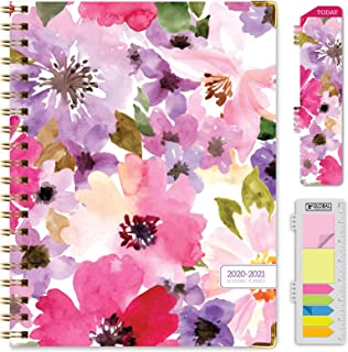 "HARDCOVER Academic Year 2020-2021 Planner: (June 2020 Through July 2021) 8.5""x11"" Daily Weekly Monthly Planner Yearly Agenda. Bonus Bookmark, Pocket Folder and Sticky Note Set (Spring Floral)"