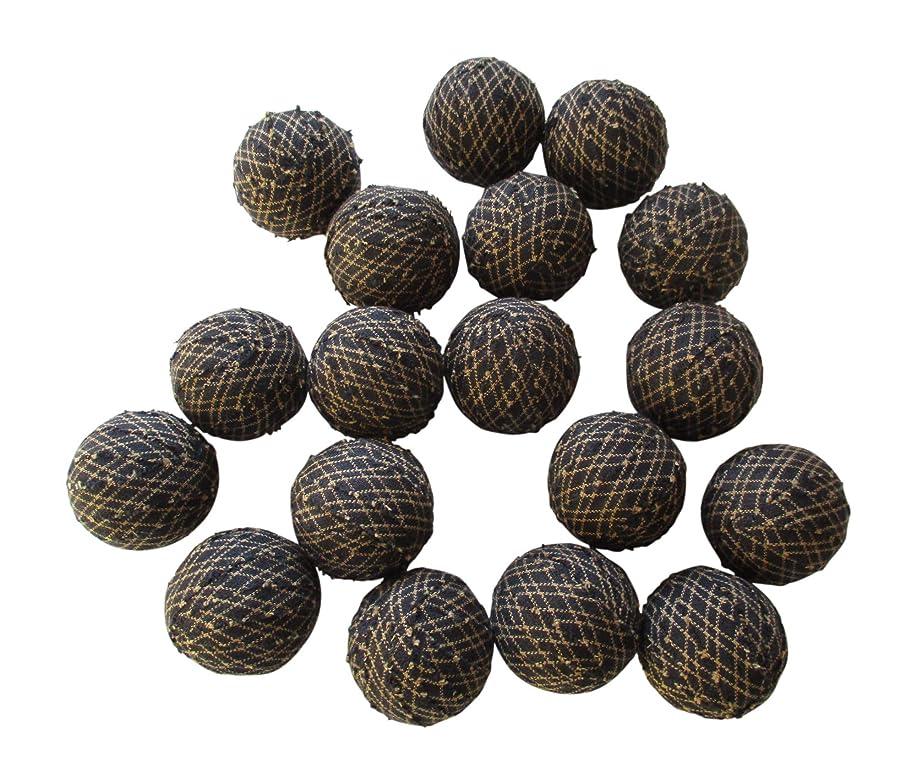 Rag Balls Black and Tan Farmhouse Style Bowl Fillers 1.5