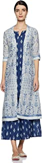 W for Woman Women's cotton straight Salwar Suit Set (19FEWS12243-112276_ Dark Blue_ 6)