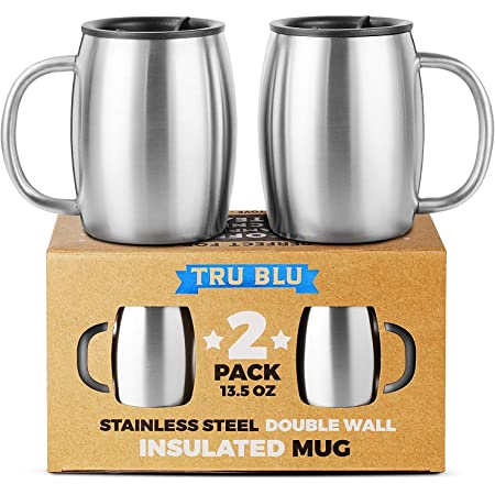 4pcs Stainless Steel Cover Mug Camping Cup Drinking Coffee Tea Beer With CaHFUK
