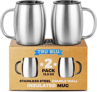 Stainless Steel Coffee Mug with Lid, Set of 2 – Premium Double Wall Insulated..