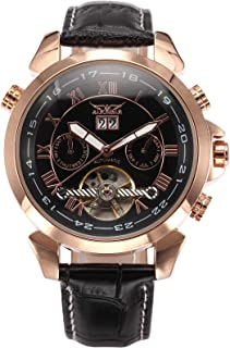 AMPM24 Men's Rose Gold Case Date Aviator Automatic Mechanical Leather Watch PMW282