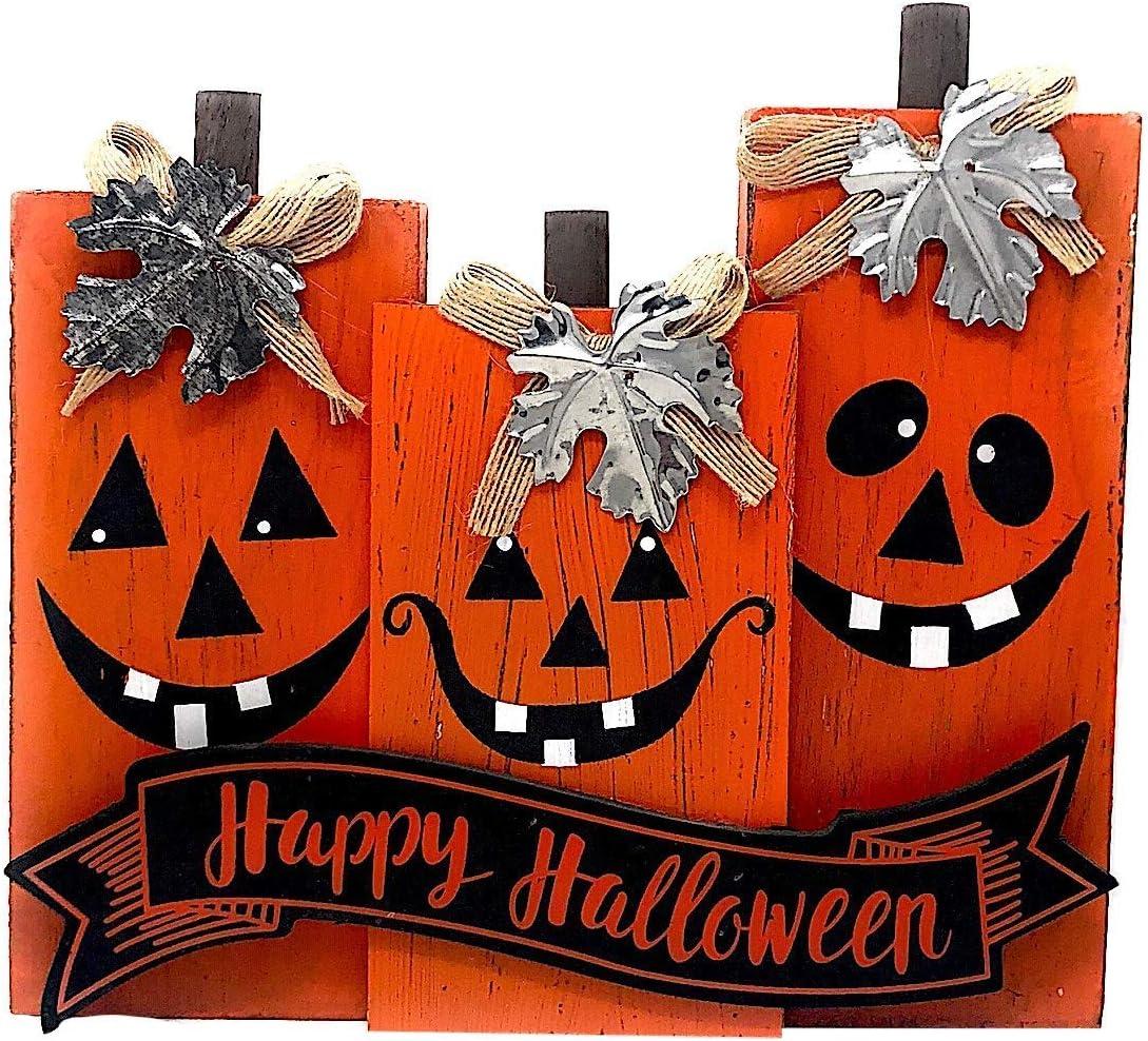 Direct Int. Happy Halloween Decoration Block Tabletop Centerpiece Orange Jack O'Lantern Pumpkin Happy Faces Decor Wood & Metal 9.5